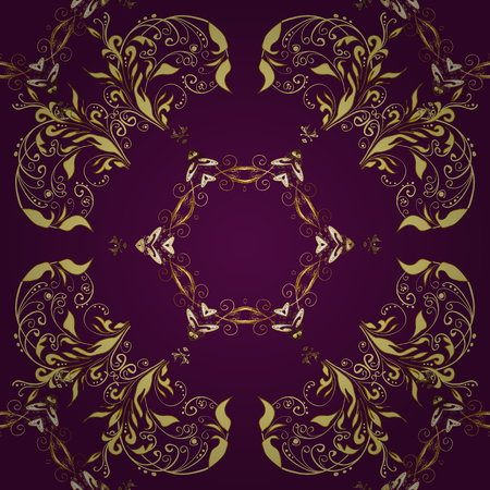 Abstract background with golden repeating oriental elements.