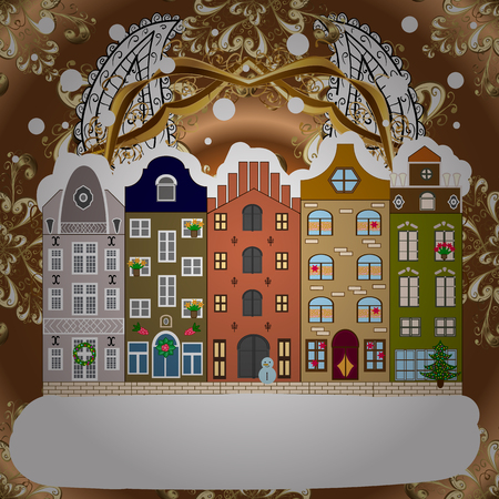 Background. Winter village landscape. Vector illustration.