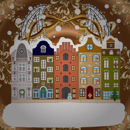 Background. Winter village landscape. Vector illustration.