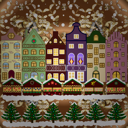 Greeting card, poster design. Cityscape. Vector. Vector. Winter houses, road, tree. Winter in the city, christmas decor fir-trees. Winter nature landscape. New year holidays. Cute town Christmas eve. Иллюстрация