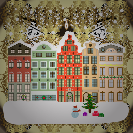 Vector illustration. Holiday background with a christmas tree and houses over a background. Иллюстрация