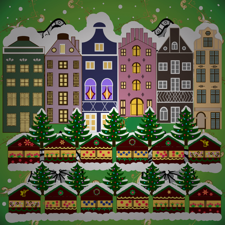 Background. Vector illustration. Christmas winter scene. Evening village winter landscape with snow cove houses. Vetores