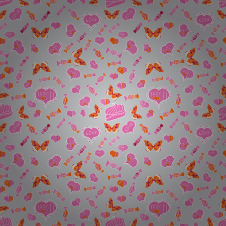 Seamless Love fabric pattern for background. Gray, pink and orange Vector illustration. Zdjęcie Seryjne - 97505208
