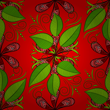 Painted tropical exotic leaves abstract colors in a cartoon style. Seamless vector wallpaper pattern on a red, green and black background.