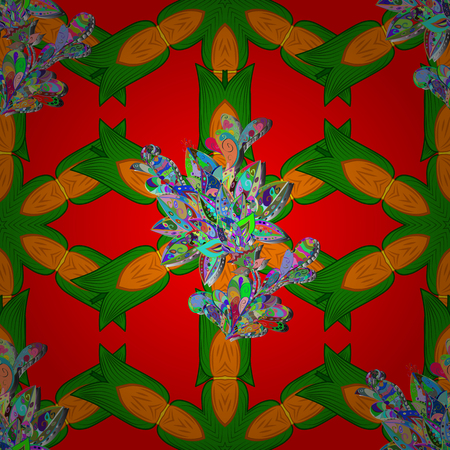 Vector circular abstract mandalas pattern. Arabesque. Colored Mandala on a red, green and orange baqckground. Round ornament with intertwined branches, flowers and curls. Vettoriali