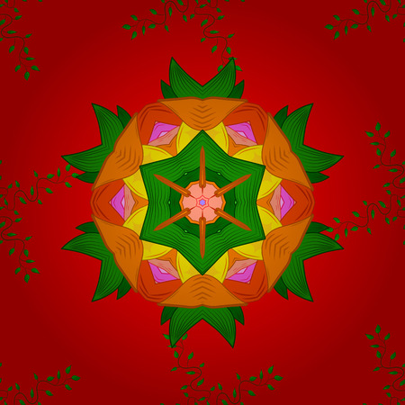 Modern vector template for brochure leaflet flyer cover catalog magazine or annual report. Business design book layout. Presentation with mandala. Colored layout on red, green and orange colors.