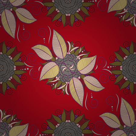 Vivid tones on red, gray and purple background. Vector illustration. Textile design. Water color exotic leaves, monstera, fan palm and orchids. Tropical floral seamless pattern.