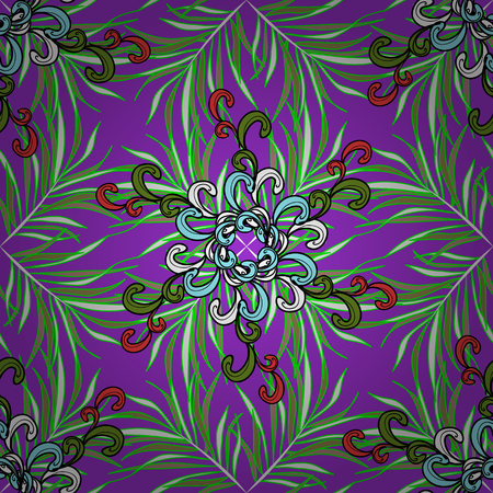 Watercolor autumn fall leaves seamless pattern. Nice leaves on violet, green and neutral colors. Vector illustration. Çizim
