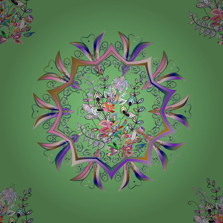 Islamic colored mandala round ornament on green, neutral and gray colors. Vector architectural muslim texture design. Can be used for brochures invitations, persian motif.