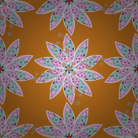Flowers on orange, neutral and blue colors. Cute Floral pattern in the small flower.