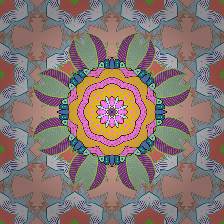 Oriental pattern. Vintage vector decorative elements. Islam, Arabic, Indian, turkish, pakistan, chinese, ottoman motifs. Colored Mandalas on neutral, beige and pink colors.