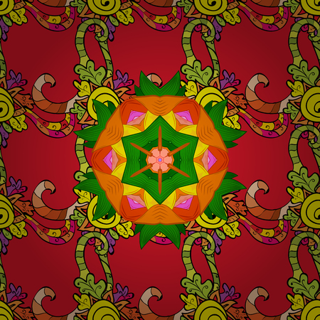 Hand-drawn colored mandala on a red, orange and green colors. Vector abstract pattern.  イラスト・ベクター素材
