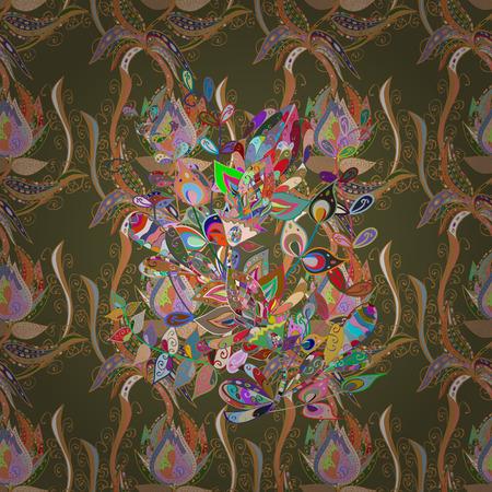 Islam, Arabic, Indian, Turkish, Pakistan. Decorative Indian Round Mandala. Vintage pattern. Invitation Card, Scrapbooking. Christmas Card Mandala Design. Colored over green, orange and neutral. Illustration