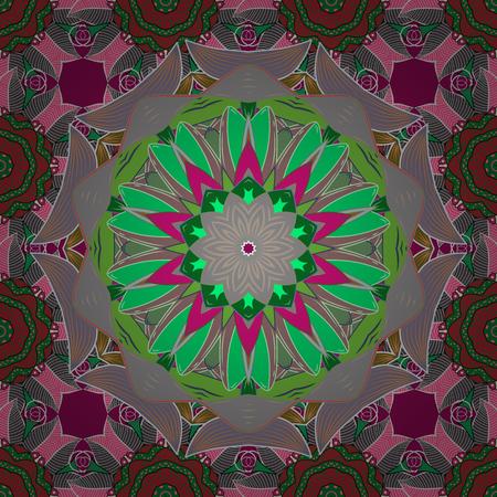 Decorative Indian Round Mandala on green, gray and neutral colors. Invitation Card, Scrapbooking. Vintage pattern. Islam, Arabic, Indian, Turkish, Pakistan. Christmas Card Mandala Design. Illustration