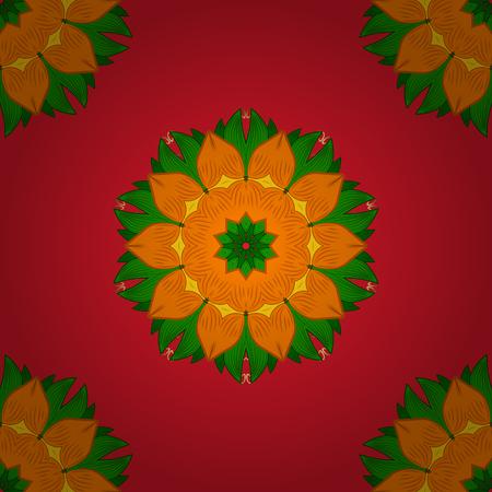Arabic Vintage decorative ornament. Ethnic texture. Orient, symmetry lace, symbol. Vector Mandala colored on red, orange and green colors. Mandala pattern. East, Islam, Thai, Indian, ottoman motifs. Çizim