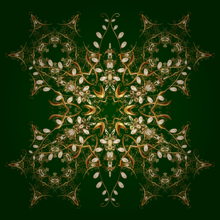 Of stylized gold snowflakes and dots on green background. Vector abstract design.