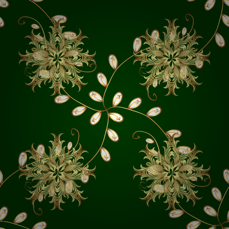 Gold floral ornament in baroque style. Gold Wallpaper on texture background. Damask seamless repeating background. Golden element on green and yellow colors. Illustration