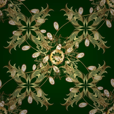 Patina. Seamless element woodcarving. Carving. Furniture in classic style. Small depth of field. Pattern with golden elements. Green and yellow backdrop with gold trim. Luxury furniture.  イラスト・ベクター素材