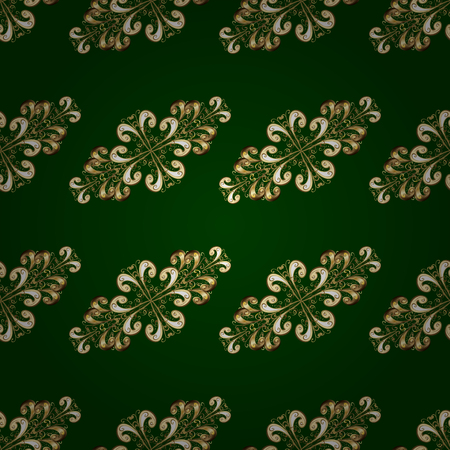 A Vector traditional classic golden seamless pattern on green and yellow colors. Seamless oriental ornament in the style of baroque.