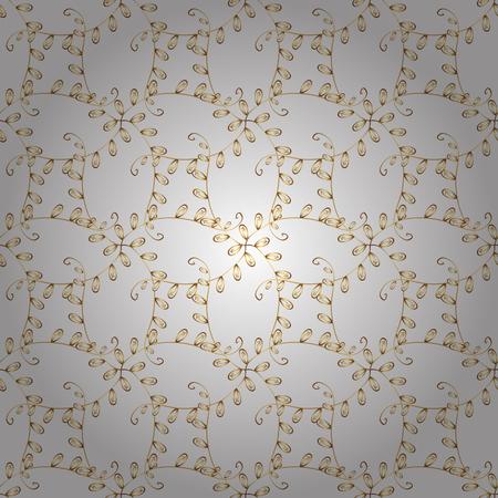 Witte en gele achtergrond met gouden versiering. Naadloos element houtsnijwerk.