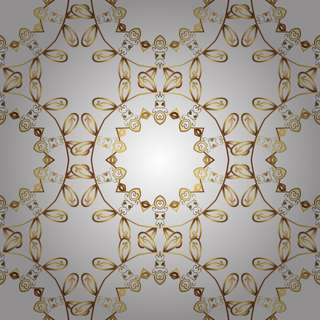Classic vintage pattern background with golden elements in baroque style illustration. Illustration