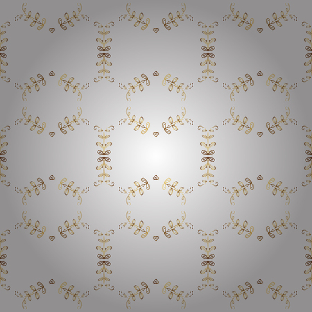 Classic vintage pattern background with golden elements in baroque style illustration. 矢量图像