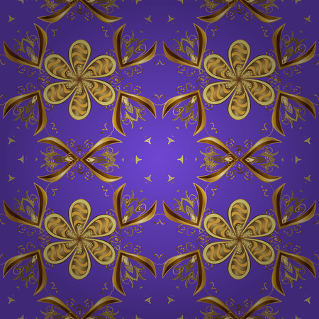 Vector seamless pattern with floral ornament. Ornamental lace tracery. Golden ornate illustration for wallpaper. Traditional arabic decor on violet, brown and yellow colors. Vintage design element. Illustration