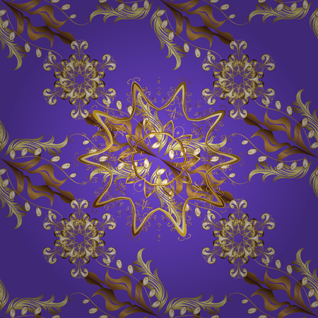Damask seamless pattern for design. Vector seamless pattern on violet, brown and beige colors with golden elements.