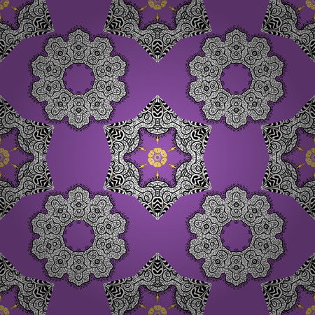 Colorful pattern on violet, white and black colors with colorful elements. Vector colorful textile print. Seamless pattern oriental ornament. Floral tiles. Islamic design.