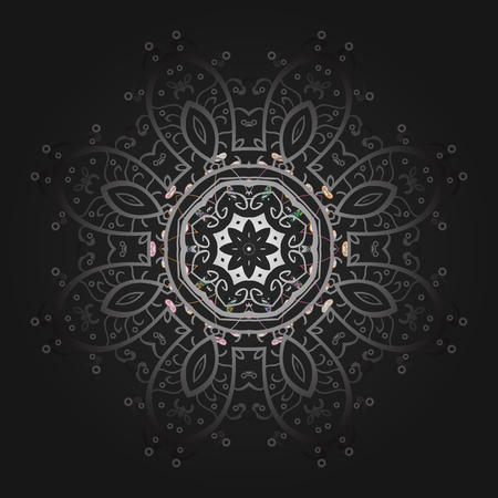 Winter snowflakes, vector background. Repeated texture for surface, wrapping paper, Snowflake on gray, brown and neutral colors.  イラスト・ベクター素材