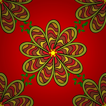Seamless floral pattern in folk style with flowers and leaves. Hand drawn. Vector illustration.
