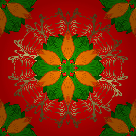 Template Colored mandala vector circle of hand drawn on red, green and orange colors.