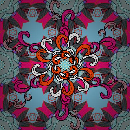 Spiritual and ritual symbol of Islam, Arabic, Indian religions. Geometric circle element in glod colors. Vector Round Ornament Pattern. Mandala on blue, black and orange colors.