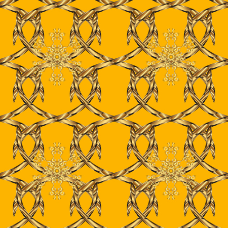 Seamless pattern on yellow, brown and beige colors with golden elements. Classic vintage background. Traditional orient ornament. Classic vector golden seamless pattern. Illustration