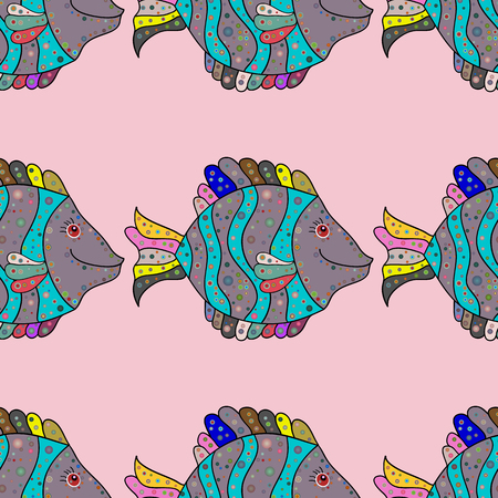 Seamless Fish pattern. Vector illustration. Handdrawn. Fishes on neutral, blue and black.