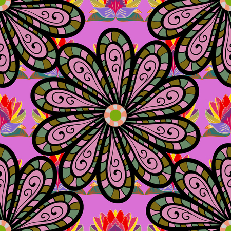 Flowers on black, pink and violet colors. Vector illustration. Seamless flowers pattern. Vector illustration. In asian textile style.