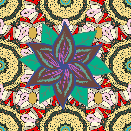 Vector nature seamless pattern with abstract ornament. Vector round mandala in childish style. Ornamental doodle green, yellow and neutral colors. 일러스트