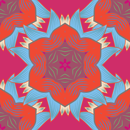 Vector abstract pattern. Hand-drawn colored mandala on a blue, red and magenta colors.