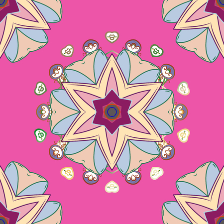 Colored Mandala on a pink, neutral and beige baqckground. Vector circular abstract mandalas pattern. Arabesque. Round ornament with intertwined branches, flowers and curls.