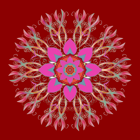 Vector illustration. Flat lay. Winter concept. Winter pattern made of snowflake on red, pink and neutral colors.