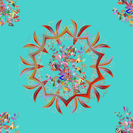 Unusual vector ornament decoration. Colorful colored tile mandala on a blue, neutral and red colors. Boho abstract seamless pattern. Intricate floral design element for wallpaper, gift paper, fabric. Çizim