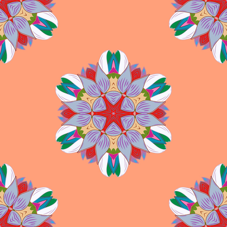 Colored round ornament pattern on a orange, blue and neutral colors. Vector Mandala.