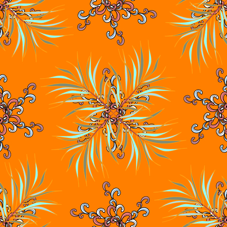 Seamless.Autumn background with colorful leaves. Varied leaves on orange, neutral and yellow colors. Vector illustration. Vektoros illusztráció