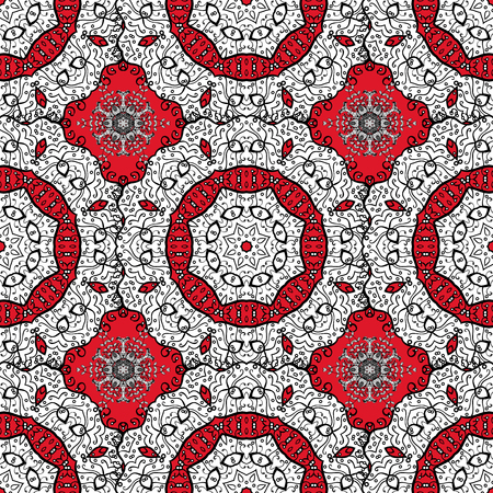 For textile, invitations, banners and other. Vector illustration. Colored round floral mandala on a white, black and red colors.