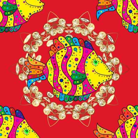 Fishes on red, yellow and magenta colors. Vector marine seamless pattern with cartoon colorful fishes. Sea life summer background.