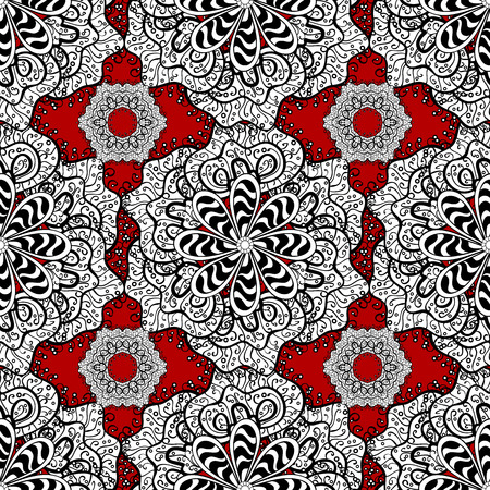Intricate floral design element for wallpaper, gift paper, fabric print, furniture. Colorful colored tile mandala on a white, black, red colors. Unusual vector ornament. Boho abstract seamless pattern 일러스트