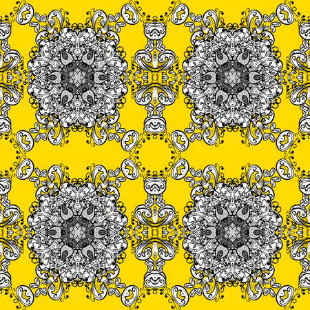Vector colored Mandala. Ornament invitation card Vintage decorative elements on a yellow, black and white colors. Tribal, Boho, Bohemian style, for flash tattoo.