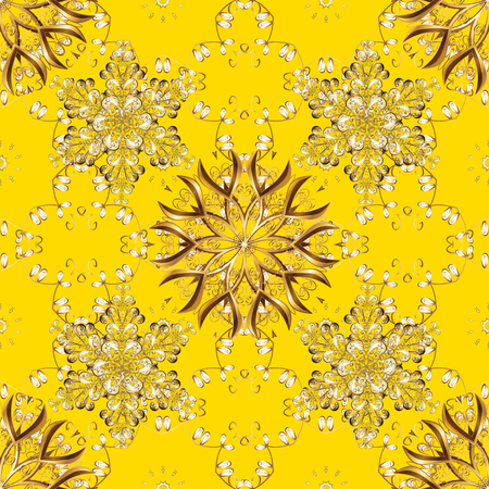 Seamless textured curls. Oriental style arabesques golden pattern on a yellow, brown and beige colors with golden elements. Vector golden pattern.