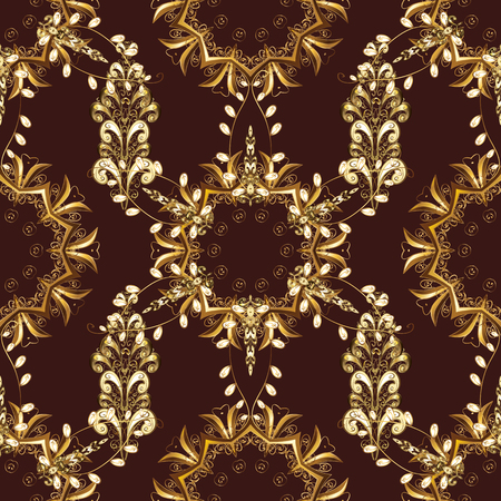 Golden snowflakes on brown, beige and yellow colors. Christmas golden snowflake seamless pattern. Symbol holiday, New Year celebration vector golden pattern. Winter snow texture wallpaper.