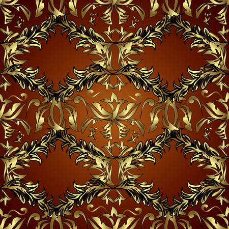 Patina. Brown, red and black backdrop with gold trim. Furniture in classic style. Carving. Seamless element woodcarving. Pattern with golden elements. Luxury furniture. Small depth of field.